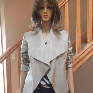 Bar III cream pleather jacket XS